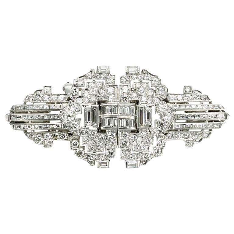 Diamond Platinum Double Clip Brooch For Sale