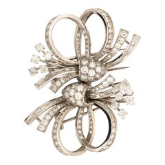 Diamond Platinum Double Clip Brooch