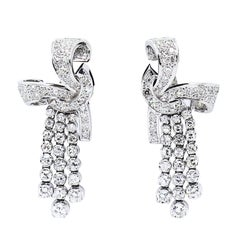 Diamond Platinum Drop Clip-On Earrings, circa 1950s