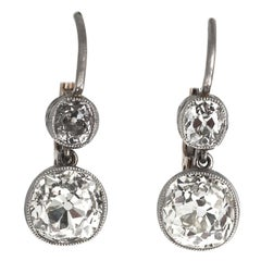 Diamond Lever-Back Earrings