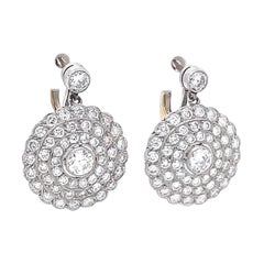 Diamond Platinum Drop Earrings Vintage Inspired