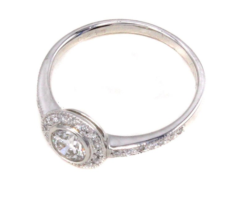 Contemporary Diamond Platinum Engagement Ring For Sale