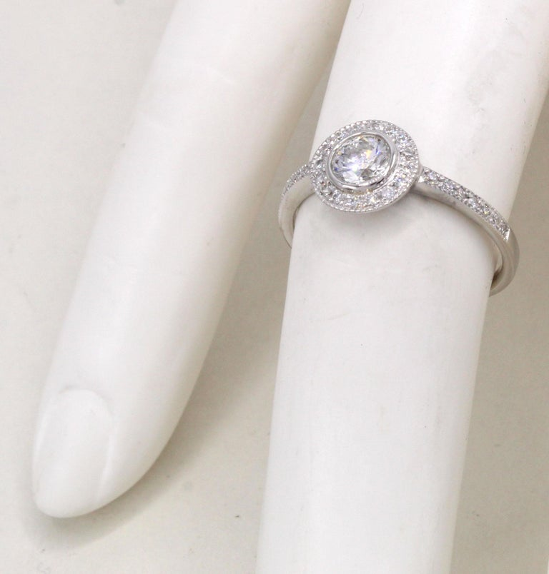 Diamond Platinum Engagement Ring In New Condition For Sale In New York, NY