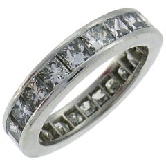 Diamond Platinum Eternity Band Ring Princess Cut