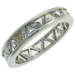 Diamond Platinum Eternity Band Ring Triangle Cut Size 5.75