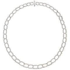 Diamond Platinum Eternity Rectangle Necklace