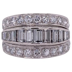 Diamond Platinum Eternity Wedding Anniversary Band Ring Baguette Round Brilliant