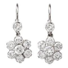Diamond Platinum Floral Drop Earrings