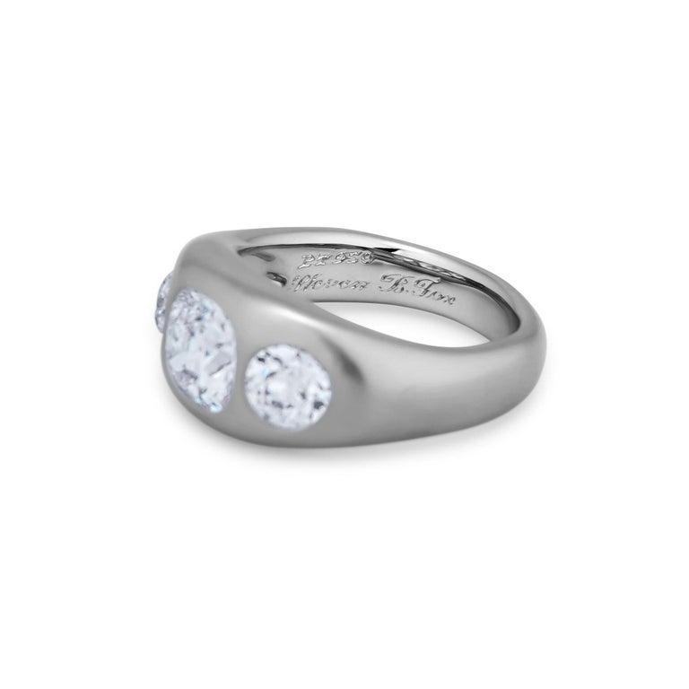 Contemporary Diamond Platinum Gypsy Ring For Sale