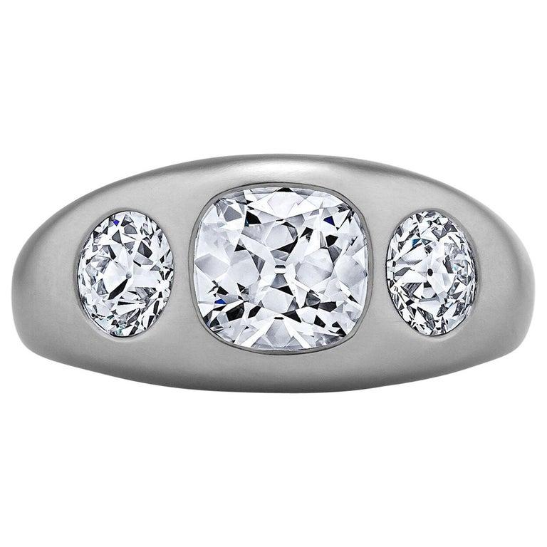 Diamond Platinum Gypsy Ring For Sale