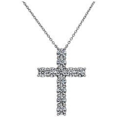 Diamond Platinum Handmade Cross Pendant Necklace
