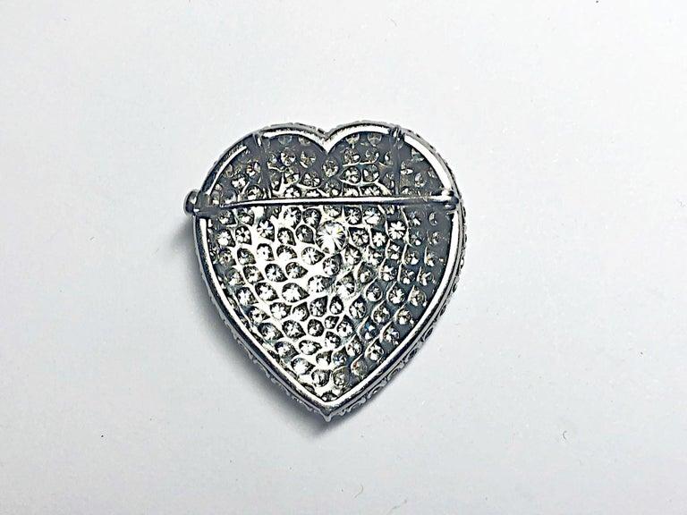 Women's or Men's Diamond Platinum Heart Brooch For Sale