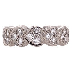 Diamond Platinum Heart Eternity Wedding Band Ring