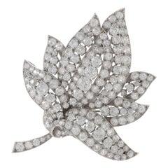 Diamond Platinum Leaf Brooch