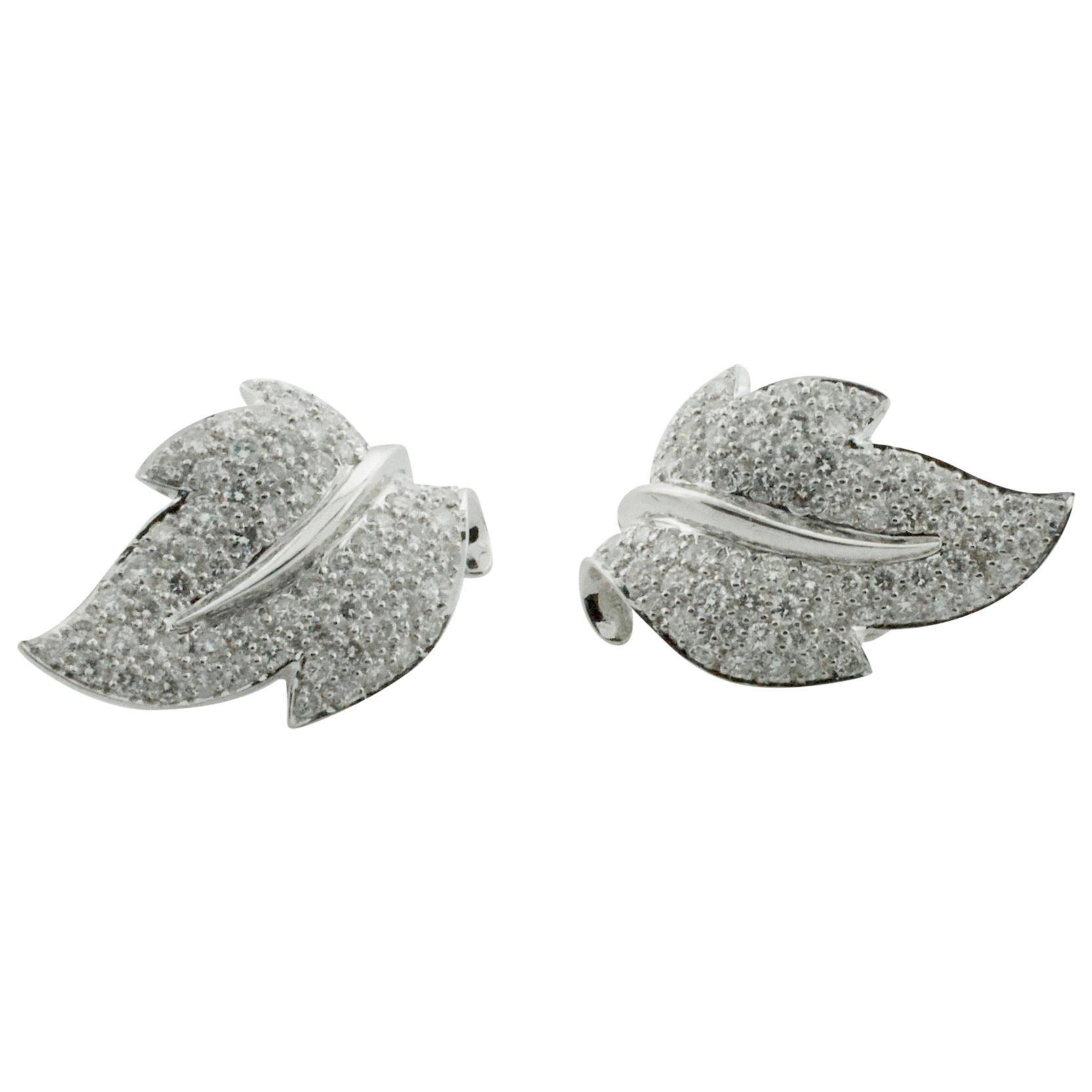 Diamond Platinum Leaf Earrings 4.00 Carat