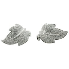 Diamond Platinum Leaf Earrings 4.00 Carat