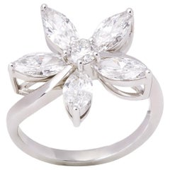 Diamond Platinum Marquise Diamond Flower Ring