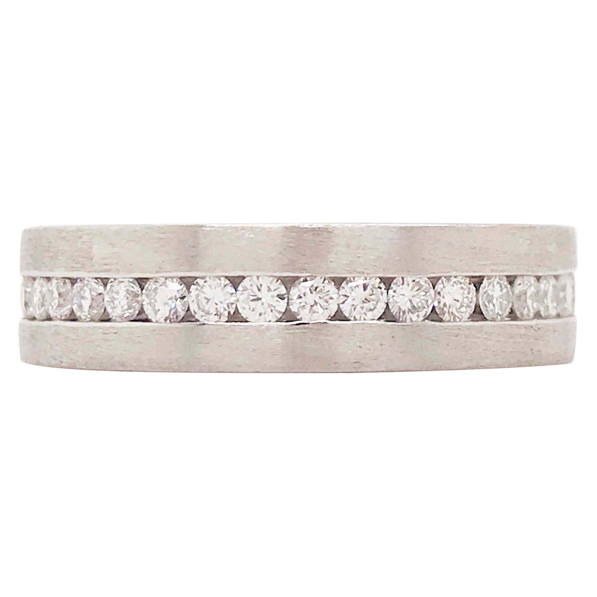 Diamond Platinum Men's Wedding Band, Satin Plat 3/4 Carat Diamond Men's Ring