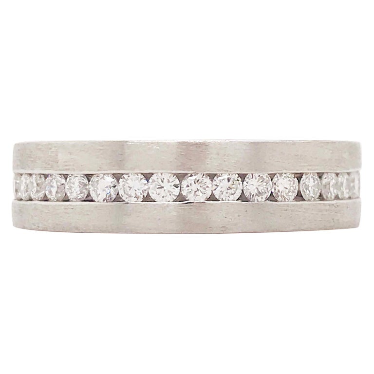 Diamond Platinum Men's Wedding Band, Satin Plat 3/4 Carat Diamond Men's Ring For Sale