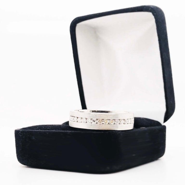 Diamond Platinum Men's Wedding Band, Satin Plat 3/4 Carat Diamond Men's Ring For Sale 5