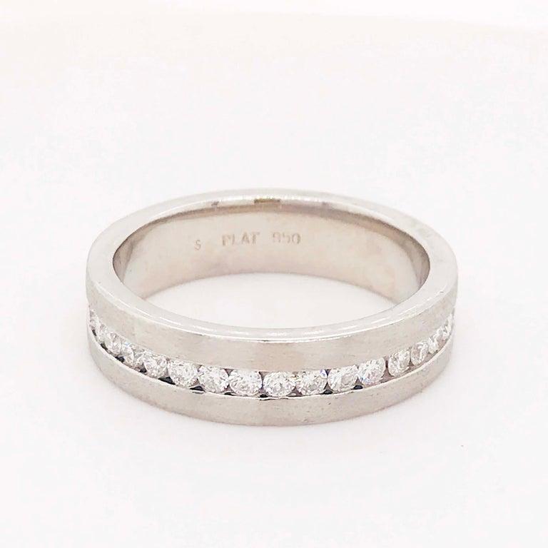 Modern Diamond Platinum Men's Wedding Band, Satin Plat 3/4 Carat Diamond Men's Ring For Sale