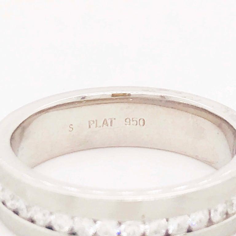 Round Cut Diamond Platinum Men's Wedding Band, Satin Plat 3/4 Carat Diamond Men's Ring For Sale
