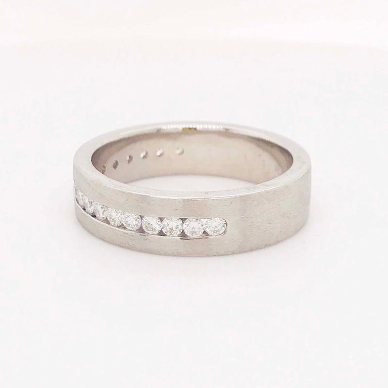 Diamond Platinum Men's Wedding Band, Satin Plat 3/4 Carat Diamond Men's Ring In New Condition For Sale In Austin, TX