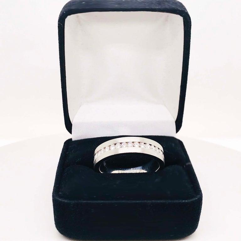 Diamond Platinum Men's Wedding Band, Satin Plat 3/4 Carat Diamond Men's Ring For Sale 3