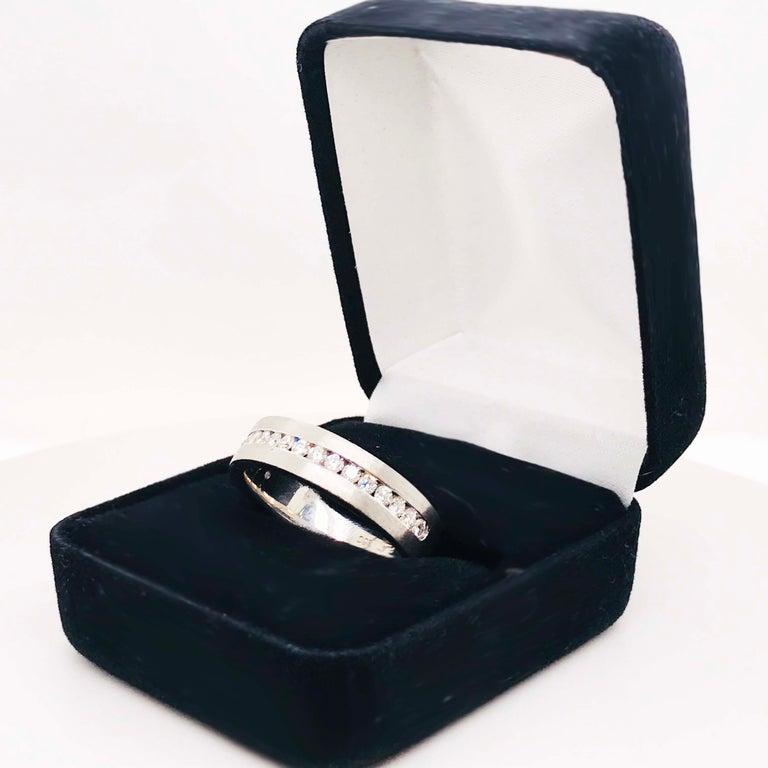Diamond Platinum Men's Wedding Band, Satin Plat 3/4 Carat Diamond Men's Ring For Sale 4
