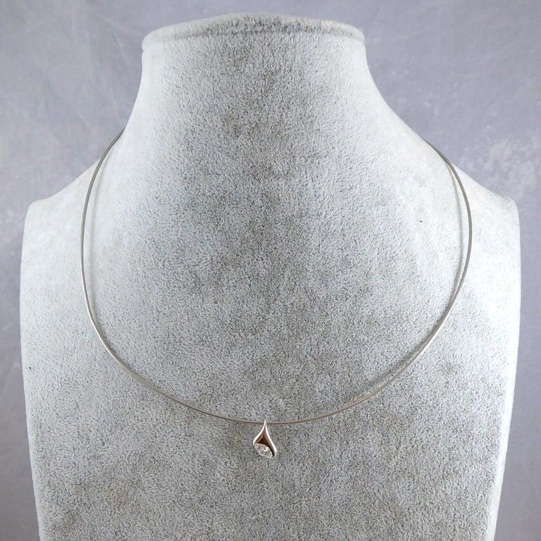 Diamond Platinum Pendant, Contemporary Design, UK Award Winning Designer For Sale 1
