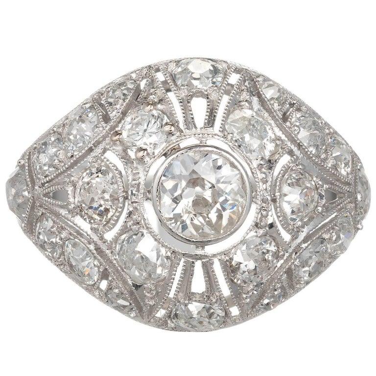 Diamond Platinum Pierced Dome Engagement Ring