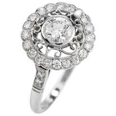 Diamond Platinum Round Cut Halo Engagement Ring