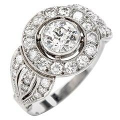 Diamond Platinum Round Cut Halo Three-Row Engagement Ring
