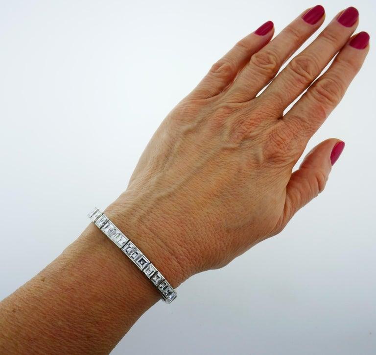Diamond Platinum Tennis Line Bracelet 1950s For Sale 6