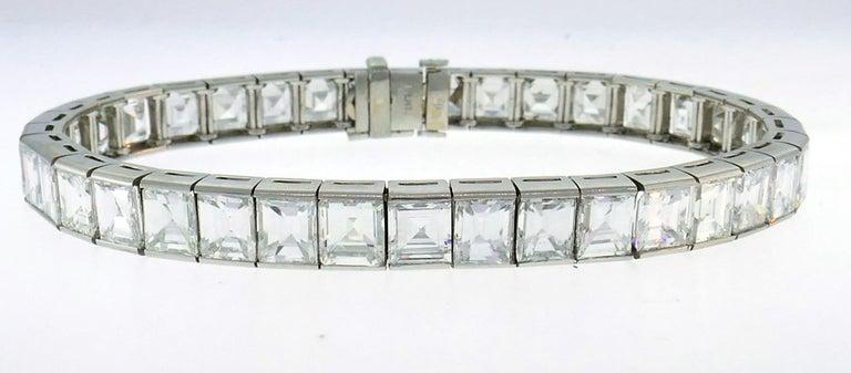 Women's or Men's Diamond Platinum Tennis Line Bracelet 1950s For Sale