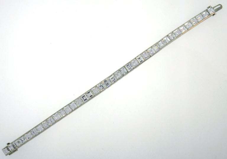Diamond Platinum Tennis Line Bracelet 1950s For Sale 1