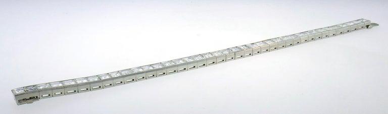 Diamond Platinum Tennis Line Bracelet 1950s For Sale 2