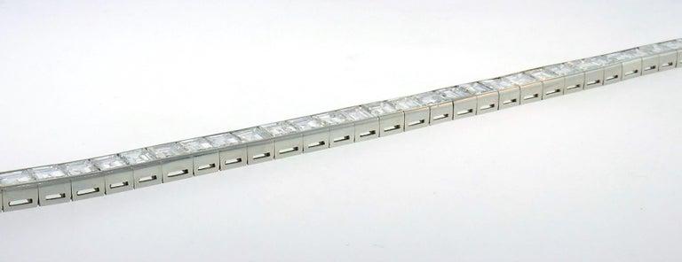 Diamond Platinum Tennis Line Bracelet 1950s For Sale 3