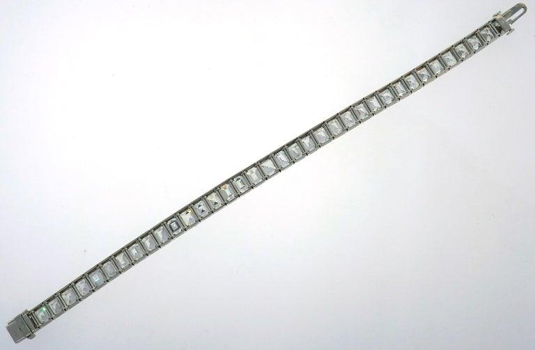Diamond Platinum Tennis Line Bracelet 1950s For Sale 4