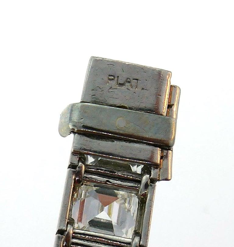 Diamond Platinum Tennis Line Bracelet 1950s For Sale 5