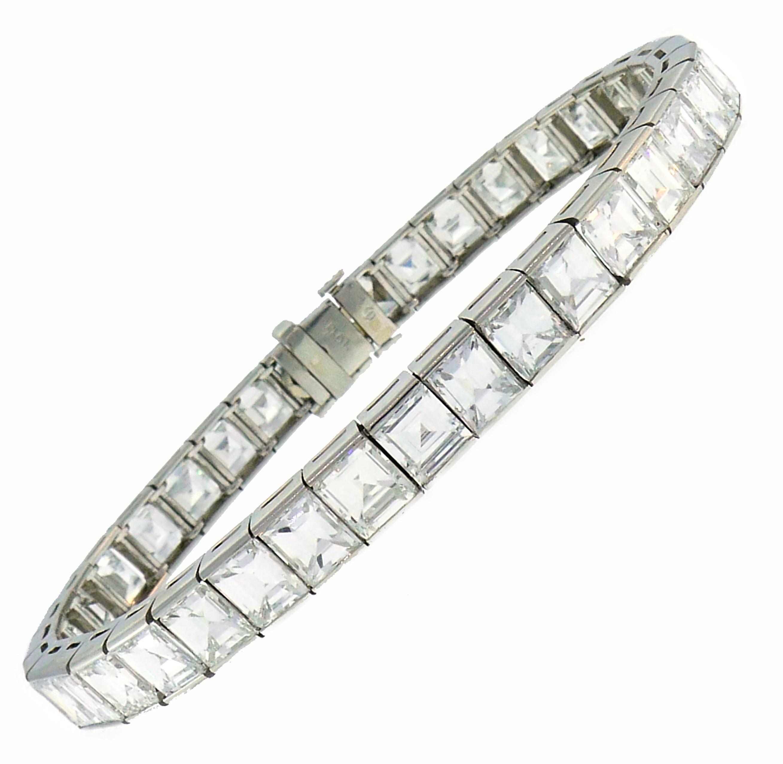 Diamond Platinum Tennis Line Bracelet 1950s