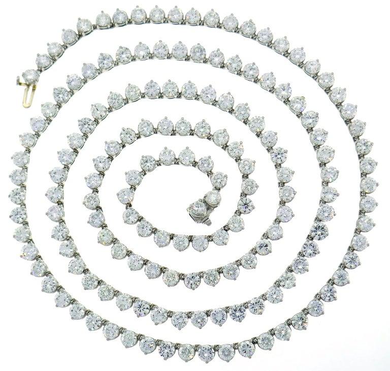 Women's Diamond Platinum Tennis Riviere Necklace Opera Length