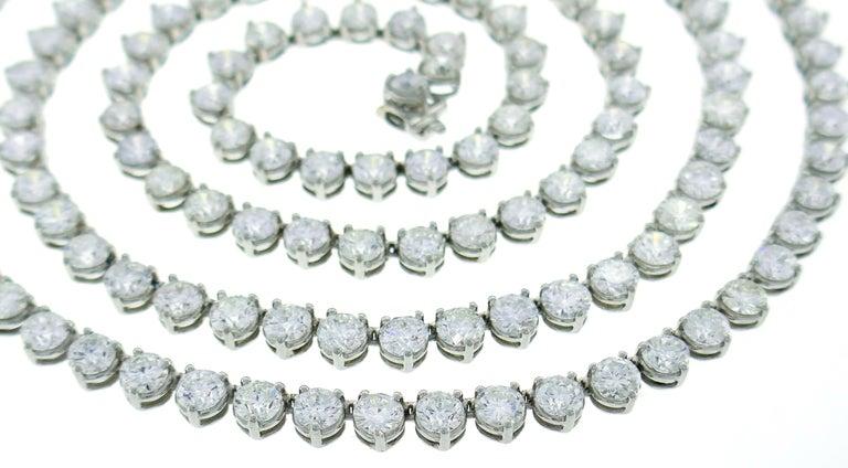 Diamond Platinum Tennis Riviere Necklace Opera Length 1