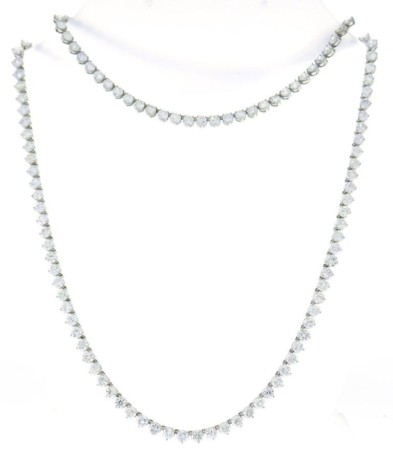 Diamond Platinum Tennis Riviere Necklace Opera Length 2