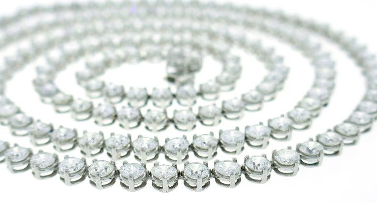 Diamond Platinum Tennis Riviere Necklace Opera Length 3