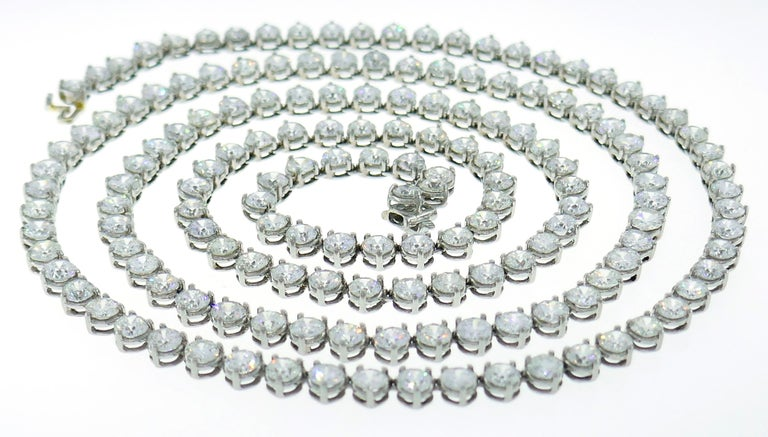 Diamond Platinum Tennis Riviere Necklace Opera Length 4