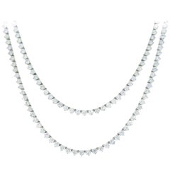 Diamond Platinum Tennis Riviere Necklace Opera Length