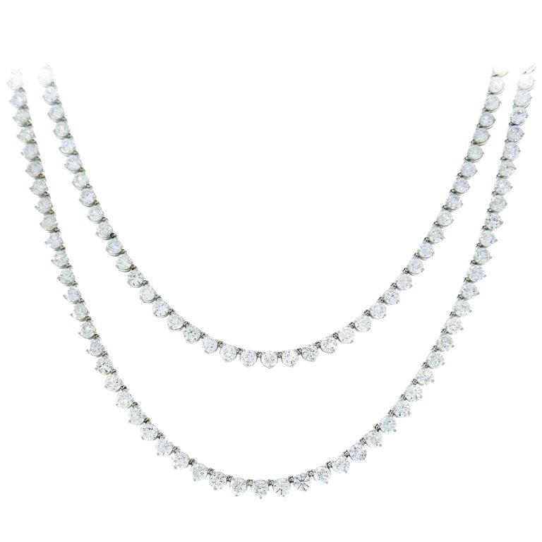 Diamond Platinum Tennis Riviere Necklace Opera Length