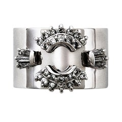 Diamond Platinum Wide Band Ring