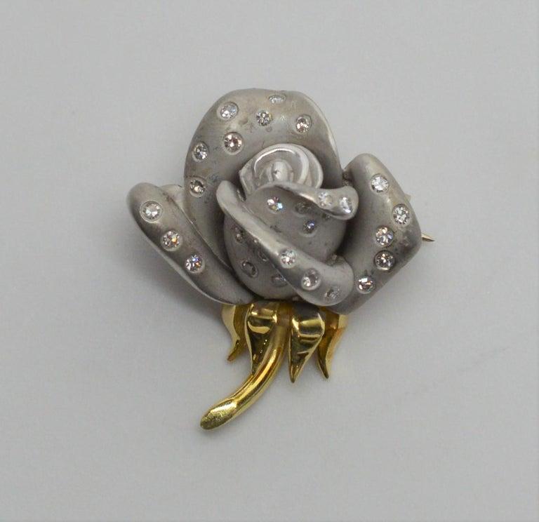 Women's Diamond Platinum Yellow Gold Flower Bud Brooch Pin For Sale